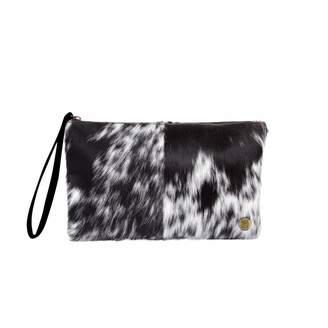 Mahi Leather Classic Clutch Bag In Black & White Pony Fur