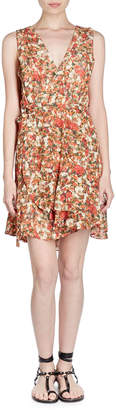 Isabel Marant Fara V-Neck Sleeveless Floral-Burnout Side Wrap Dress