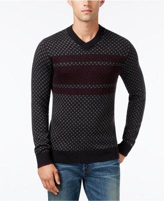 Tommy Hilfiger Men's Chainlink Stripe V-Neck Sweater $110 thestylecure.com