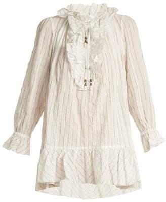 Zimmermann Corsair Ruffled Pinstriped Cotton Blend Blouse - Womens - Ivory Multi