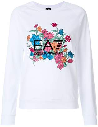 Emporio Armani (エンポリオ アルマーニ) - Ea7 Emporio Armani embroidered floral logo sweatshirt