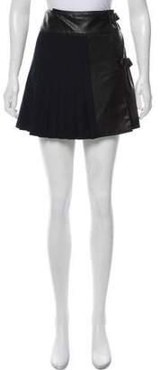 Rag & Bone Leather Paneled Wool Skirt