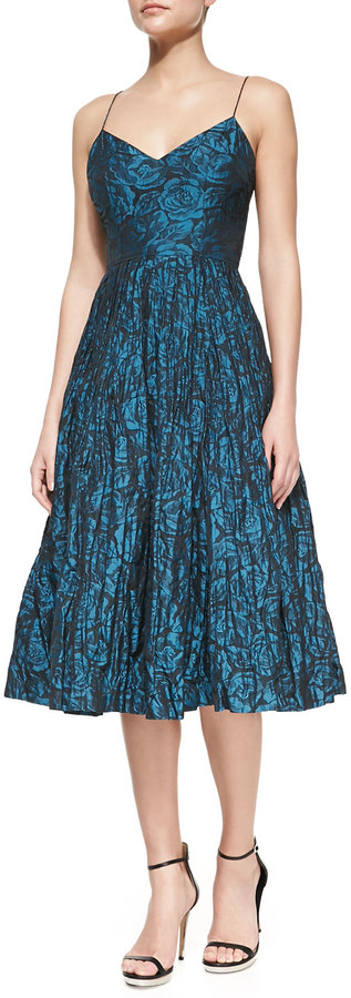 Tracy Reese Spaghetti Strap Floral-Print Ballerina Dress