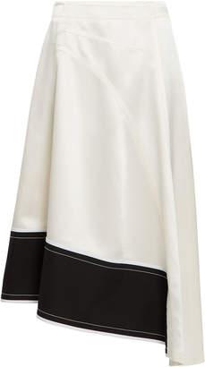 Derek Lam Asymmetric Pebble Crepe Midi Skirt