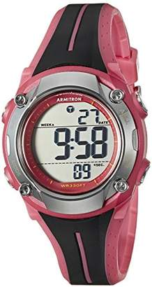 Armitron Sport Women's 45/7063PNK Digital Chronograph Black and Pink Resin Strap Watch