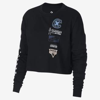 Converse Heritage Patches Cropped Long Sleeve Womens T-Shirt