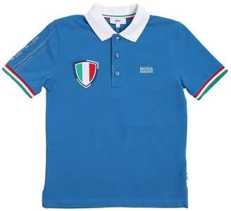 HUGO BOSS ITALY コットンピケポロシャツ