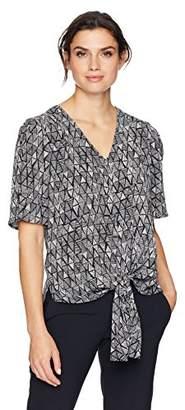 Chaus Women's S/S Tie Front Vivid Triangle Blouse