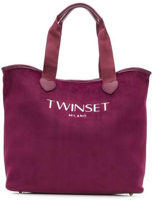 Twin-Set embroidered logo tote bag