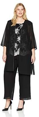 Le Bos Women's Size Lace 3 pc Pant Set Plus