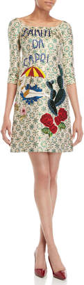Dolce & Gabbana Summer Graphic Beaded Brocade Shift Dress