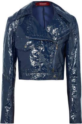Sies Marjan - Annabelle Cropped Crinkled-vinyl Biker Jacket - Navy