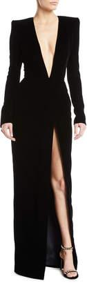 Alexandre Vauthier Plunging Long-Sleeve Velvet Wrap Evening Gown