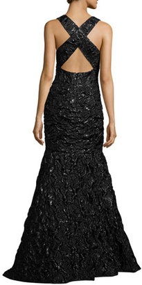 Milly Penelope Rosette Jacquard Mermaid Gown, Black $1,050 thestylecure.com