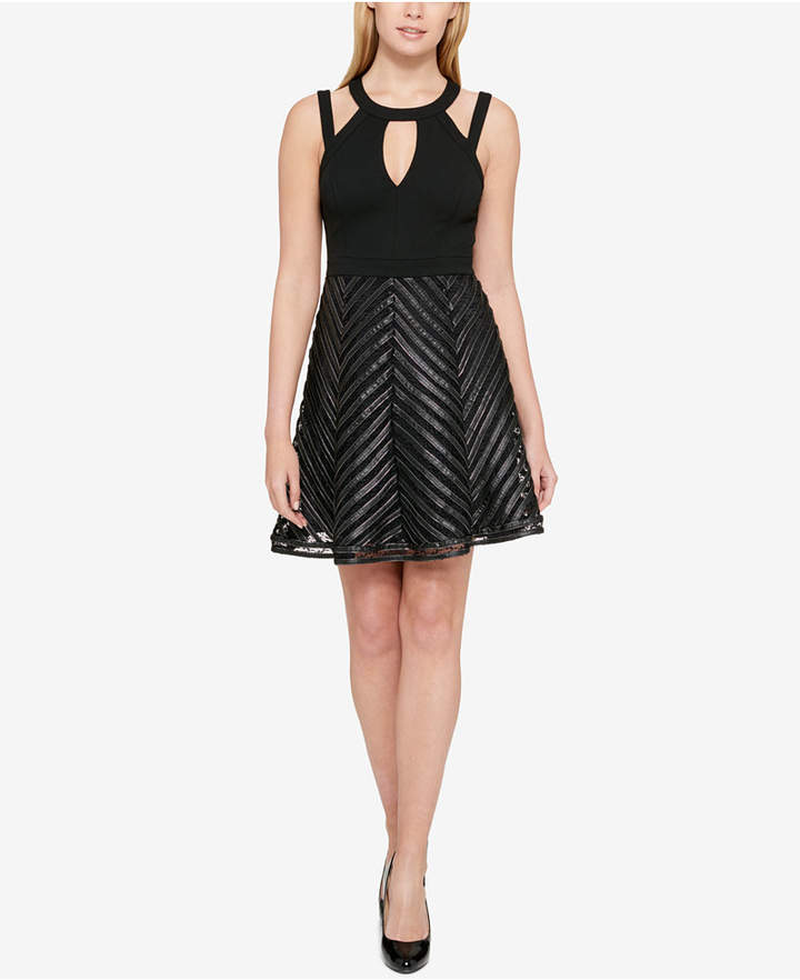 Guess Faux-Leather-Trim Fit & Flare Dress