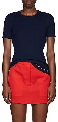 Lisa Perry Women's Rib-Knit Cashmere Short-Sleeve Sweater - Navy