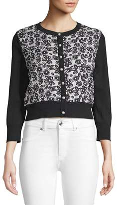 Karl Lagerfeld Paris Women's Faux Pearl Floral Cropped Cardigan