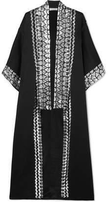 Temperley London Sequin-embellished Satin-crepe Kimono - Black