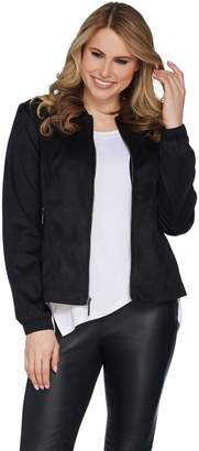 Halston H By H by Zip Front Faux Suede Bomber Jacket