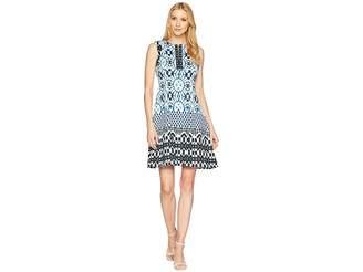 Maggy London Sundial Ikat Printed Scuba Fit Flare Dress Women's Dress