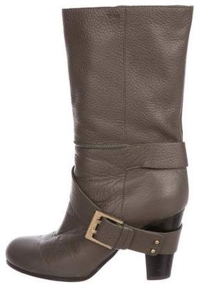 Chloé Leather Round-Toe Mid-Calf Boots