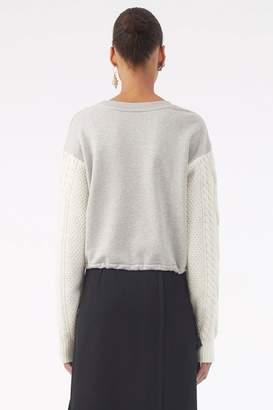 3.1 Phillip Lim Cabled-Sleeve Sweatshirt