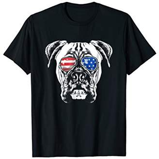 Boxer Dog American Flag Glasses T-Shirt 4th of July