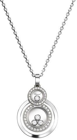 Chopard Chopard Happy Diamonds Stacked Circle Pendant Necklace in 18K White Gold