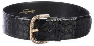 Salvatore Ferragamo Embossed Patent Leather Belt