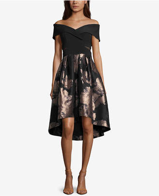 Xscape Evenings Off-The-Shoulder Metallic Fit & Flare Dress