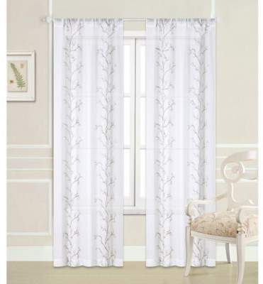Sierra 84-Inch Rod Pocket Window Curtain Panel Pair in White