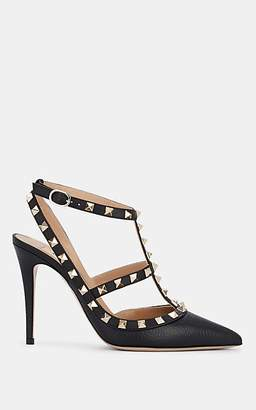 Valentino Women's Rockstud Leather Ankle-Strap Pumps - Black