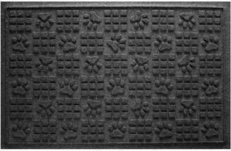 Bungalow Flooring Aqua Shield Dog Paw Squares Doormat Charcoal