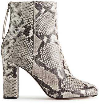 Reiss Odelle Snake Snake-Print Leather Ankle Boots