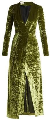 Galvan - Cloud Hammered Velvet Dress - Womens - Green