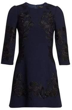 Dolce & Gabbana Lace Applique Wool Dress