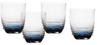 Mikasa Swirl Cobalt Double Old Fashioned Glass Set of 4