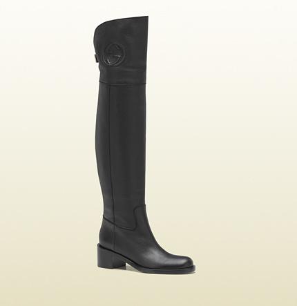 Gucci over-the-knee embossed interlocking G low heel boot