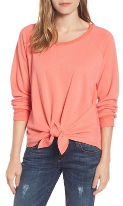 Petite Women's Caslon Tie Front Cotton Blend Sweatshirt $49 thestylecure.com