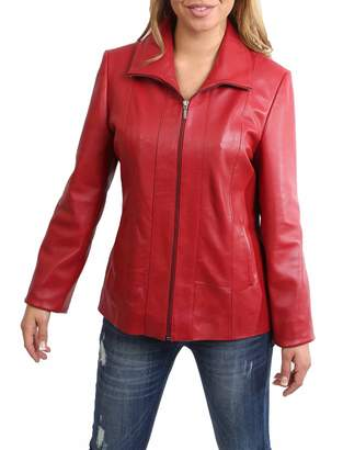 House of Leather Womens Classic Zip Up Real Leather Semi Fitted Lambskin Jacket Julia