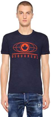 DSQUARED2 Leaf Printed Cotton Blend Jersey T-Shirt