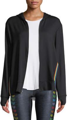 Terez Side-Split Rainbow Trim Hoodie