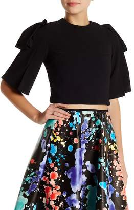 Gracia Ribbon Sleeve Crop Top $92 thestylecure.com