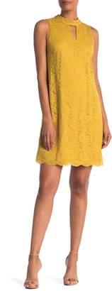 Nine West Cutout Mock Neck Lace Shift Dress