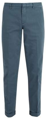 Prada Slim Leg Stretch Cotton Chino Trousers - Mens - Grey