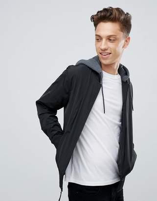Hollister core hooded bomber jacket in black
