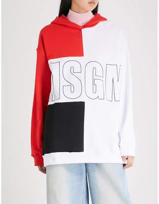 MSGM Logo-print cotton-jersey hoody