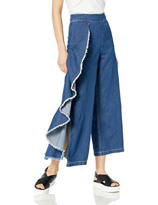 CG JEANS Women's Cute Fitted Mid Waist Cropped Wide Leg Fray Ruffle Denim