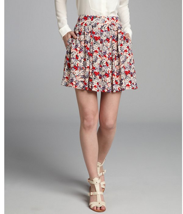 BCBGeneration amethyst and poppy floral printed pleated mini skirt