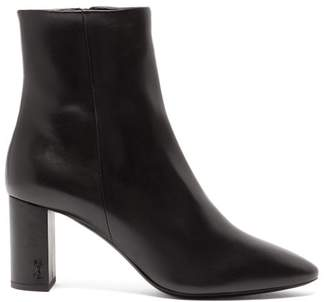 Saint Laurent Lou Monogram Plaque Patent Leather Boots - Womens - Black